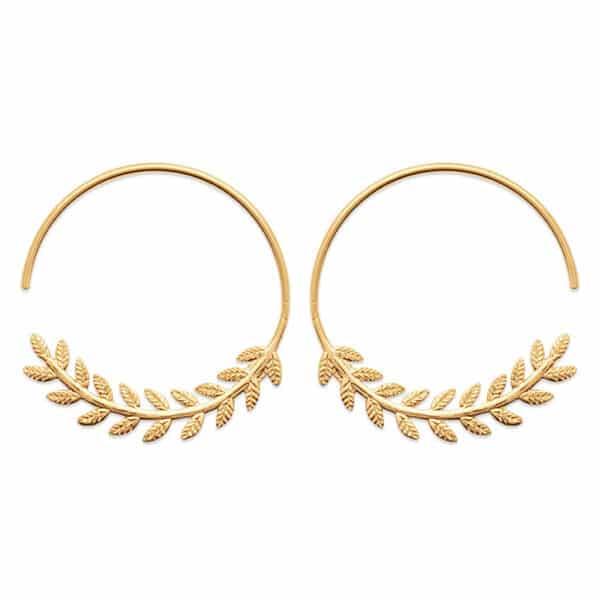 boucles d'oreilles créoles laurier plaqué or femme