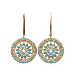 boucles d'oreilles ethniques turquoise plaqué or femme