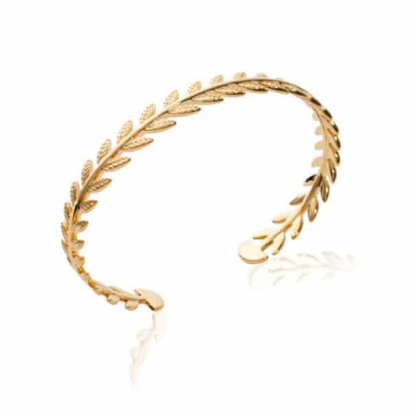bracelet jonc laurier plaqué or femme
