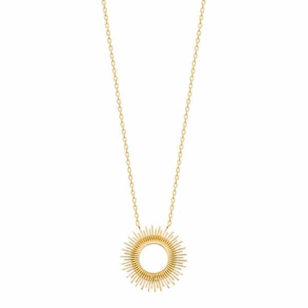 collier soleil plaqué or femme