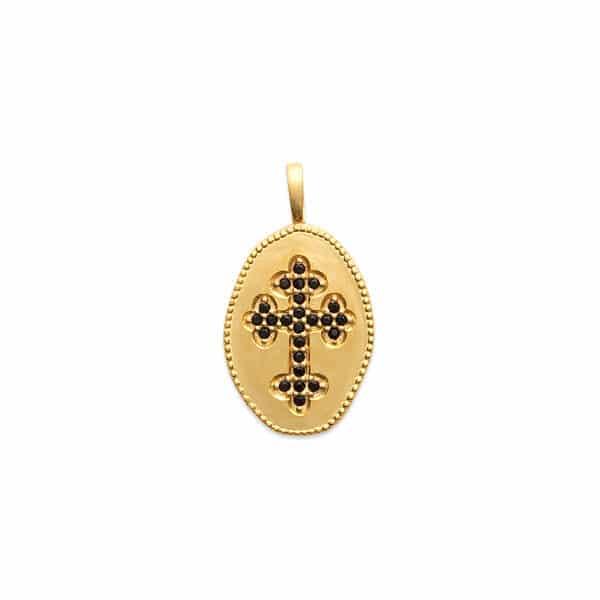 pendentif croix noire plaqué or femme