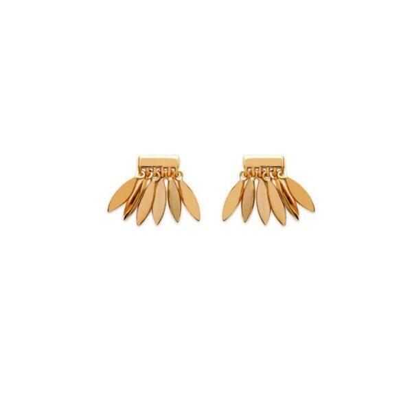 boucles d'oreilles ethniques plume plaqué or femme