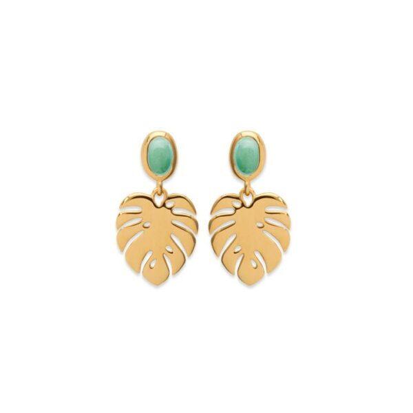 boucles d'oreilles feuille de palmier tropical aventurine plaqué or femme