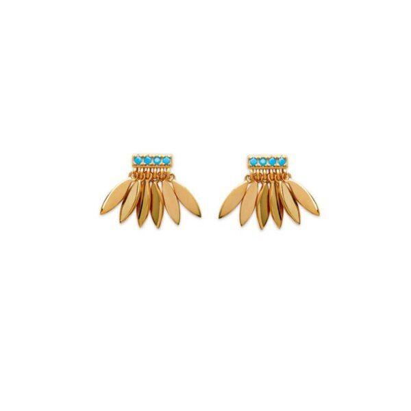 boucles d'oreilles plume turquoise plaqué or femme