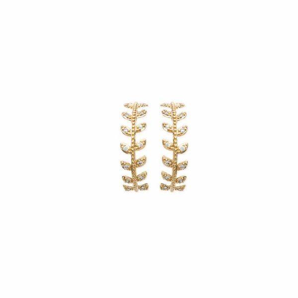 créoles feuilles de laurier zircon plaqué or femme